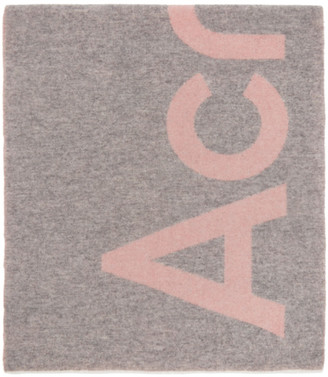 Acne Studios Pink and Grey Logo Scarf