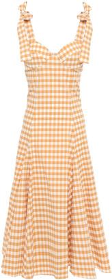 Paper London Mona Gingham Cotton-blend Seersucker Midi Dress