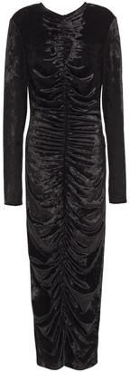 Sara Battaglia Ruched Crushed-velvet Midi Dress