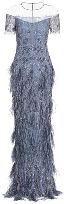 Pamella Roland Sequin & Ostrich Feather Gown