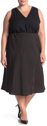 Sanctuary Satin Patterned Bias Midi Skirt (Plus Size)