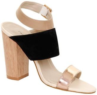 Paper Dolls Footwear Black Suede & Metallic Peep Toe Wooden Heel