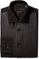 Sean John Men's Regular Fit Printed Bib Spread Collar Dress Shirt