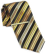 Gold Series Stripe Tie with Enamel Tie Bar Casual Male XL Big & Tall