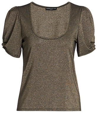 Generation Love Petra Lurex Short Puff-Sleeve Top