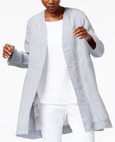 Eileen Fisher Linen Open-Front Long Jacket