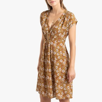 La Redoute Collections Floral Print Short Dress with Short Sleeves