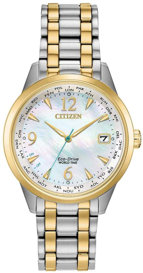 Citizen Eco-Drive Perpetual Calendar Mother of Pearl and Gold Detail Date Dial Two Tone Stainless Steel Bracelet Ladies Watch