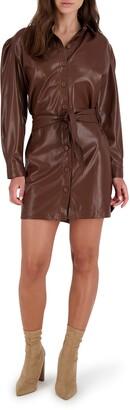 BB Dakota Faux Leather Long Sleeve Shirtdress