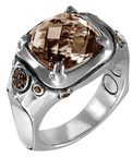 John Hardy Batu Bamboo Silver & Smoky Quartz Cushion Ring