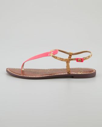 Sam Edelman Gigi Patent Thong Sandal, Shocking Pink/Natural