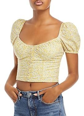 Bardot Christie Floral Print Cotton Cropped Top