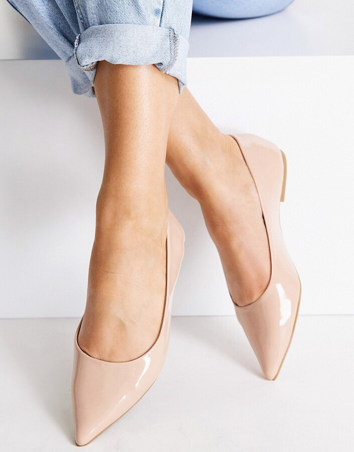 ASOS DESIGN Lucky pointed ballet flats in beige