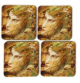 "Big Box Art ""Richard Dadd Bacchanalian Scene"" Coasters, Multi-Colour, 9 x 9 cm, Set of 4"
