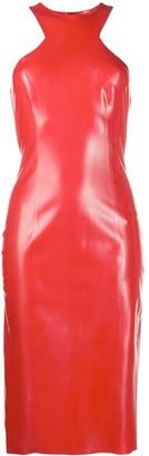 Saint Laurent Fitted Latex Midi Dress