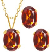 Gem Stone King 1.50 Ct Oval Madeira Citrine Gold Plated Silver Pendant Earrings Set