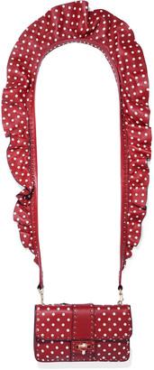 Valentino Rockstud Ruffle-trimmed Polka-dot Leather Shoulder Bag