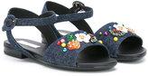 Dolce & Gabbana denim floral sandals - kids - Cotton/Leather/Spandex/Elastane/rubber - 26