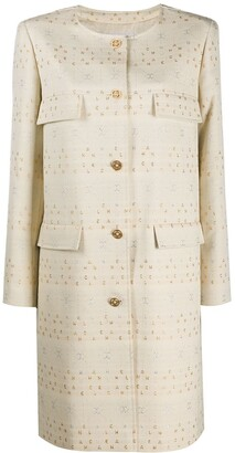 Chanel Pre Owned Logo-Embroidered Collarless Coat