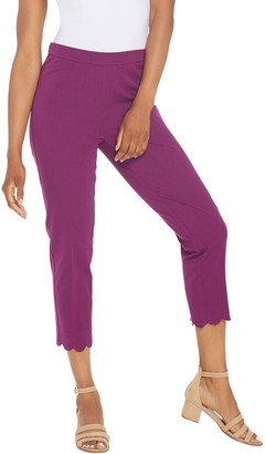 Isaac Mizrahi Live! Tall 24/7 Stretch Crop Pants w/ Scallop Hem