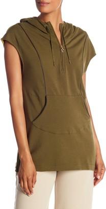 Joan Vass Short Sleeve Partial Zip Hoodie