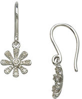 Lord & Taylor 14Kt. White Gold and Diamond Flower Drop Earrings