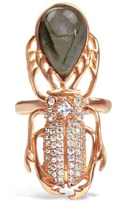 Bellus Domina Gold-Plated Silver Labradorite Beetle Ring