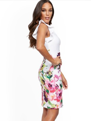 New York & Co. Floral Ruffle-Sleeve Sheath Dress