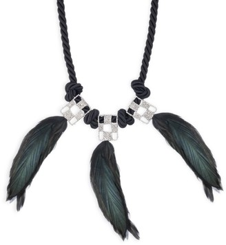 Alexis Bittar Pave Checkerboard Feather Bib Necklace