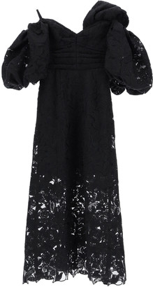 Self-Portrait MIDI LACE DRESS 10 Black