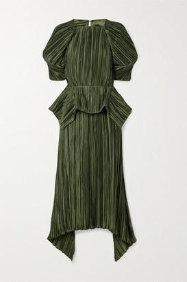 Cult Gaia Nadira Open-back Plisse-satin Peplum Midi Dress - Army green