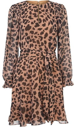 Whistles Brushed Cheetah Flippy Dress
