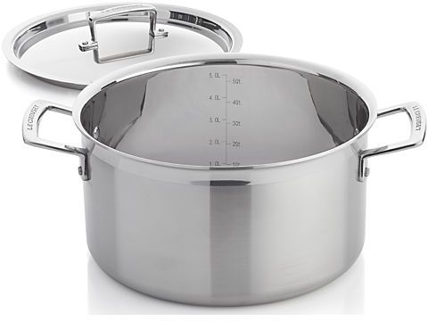 Crate & Barrel Le Creuset ® 6.4 qt. Stainless Steel Stock Pot with Lid