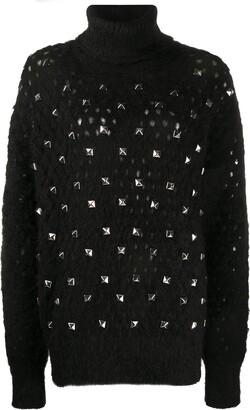 Junya Watanabe Open Knit Jumper With Rockstud Detailing