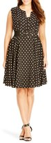 City Chic 'Vintage Veronica' Dot Print Belted Fit & Flare Dress (Plus Size)
