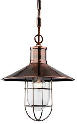 Firstlight 2306AC E14 Small Edison Screw 60 Watt Crescent Pendant Light, Antique Copper