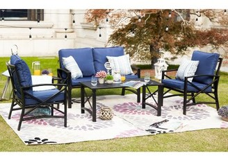Charlton Home Straughter 5 Piece Sofa Seating Group with Cushions Cushion Color: Blue