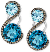 LeVian Le Vian Crazy Collection® Blue Topaz (7-5/8 ct. t.w.) and Diamond (3/8 ct. t.w.) Drop Earrings in 14k White Gold
