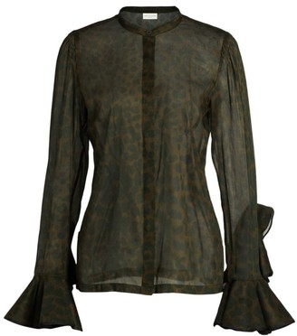 Dries Van Noten Sheer Ruffle-Sleeve Leopard-Print Blouse