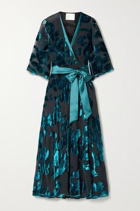 Galvan Satin-trimmed Devore-velvet Wrap Midi Dress - Black