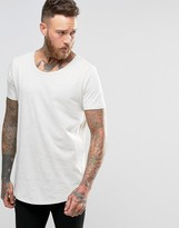 Lee Shaped Hem T-shirt Ecru Melange