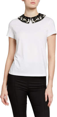 Valentino Short Sleeve T-Shirt with Removable Beaded Collar
