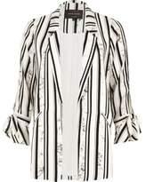 River Island Womens White stripe marble print tie sleeve blazer