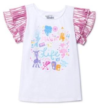 Trolls Poppy Girls Flutter Short Sleeve Graphic T-Shirt, Sizes 4-16