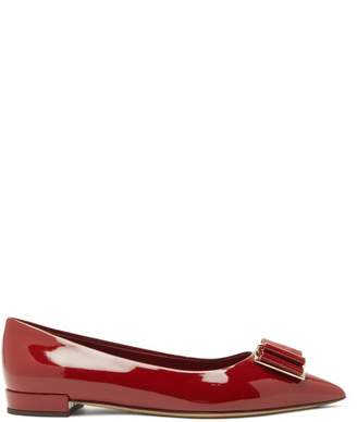 Salvatore Ferragamo Zeri Patent-leather Ballet Flats - Womens - Red