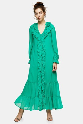 Topshop Green Chiffon Ruffle Maxi Dress