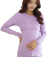 CHCIKLE Chickle Women's Solid Color Cotton Nursing Maternity Pajamas Set 2XL