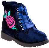 KensieGirl Navy Velvet Rose Ankle Boot