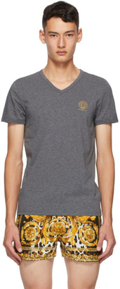 Versace Underwear Grey Medusa V-Neck T-Shirt