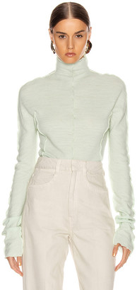 Jil Sander High Neck Long Sleeve Top in Pale Blue | FWRD